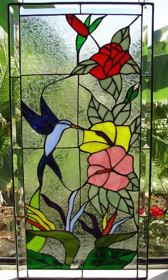 Hummingbird, Bird Of Paradise & Hibiscus Leaded Stained Glass Window Panel