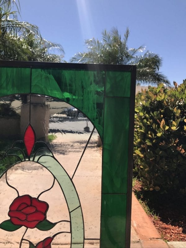 Lovely Single Red Rose Stained Glass Window Panel or Cabinet Insert