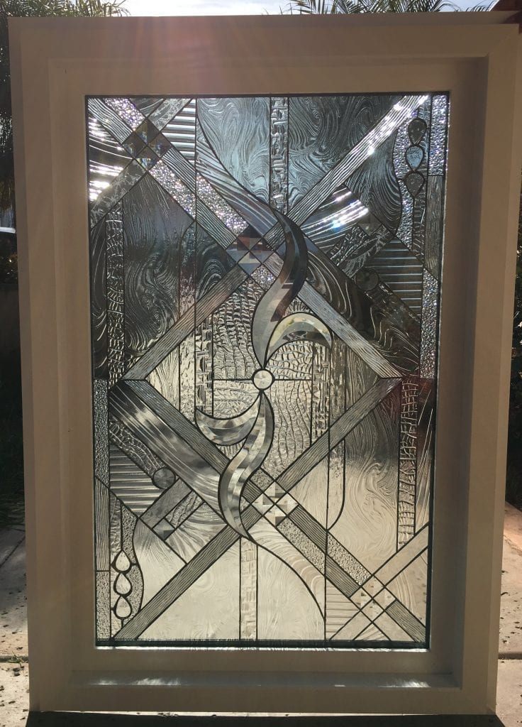 """Vinyl Framed and Tempered Glass Insulated!! The """"Oakland"""" Stained Glass & Beveled Window"""