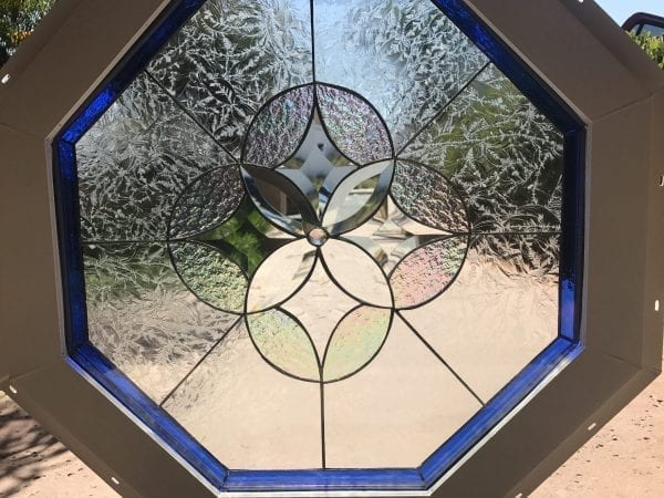 """Vinyl Framed and Tempered Glass Insulated!! The """"Hermosa"""" Octagon Stained Glass & Beveled Window"""