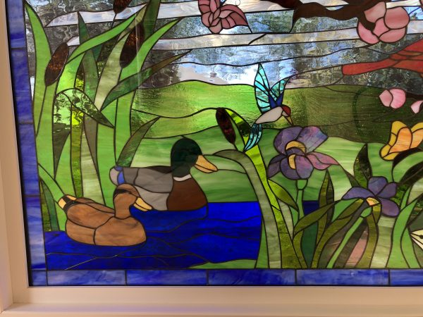 """Vinyl Framed and Tempered Glass Insulated!!   The """"Bird & Duck Fantasy""""  Stained Glass Window"""