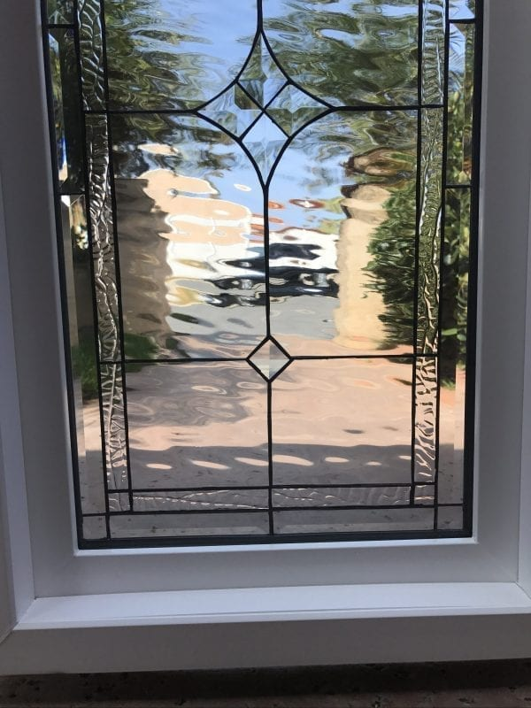 """Vinyl Framed and Tempered Glass Insulated!! The """"Palm Springs"""" Stained Glass & Beveled Window"""