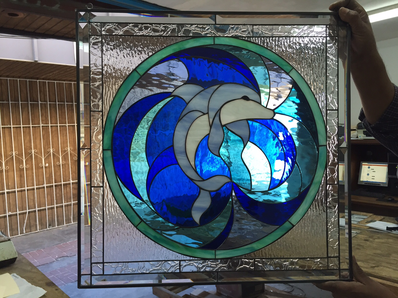 The Blue Dolphin Leaded Stained Gl Window Panel Or Cabinet Insert