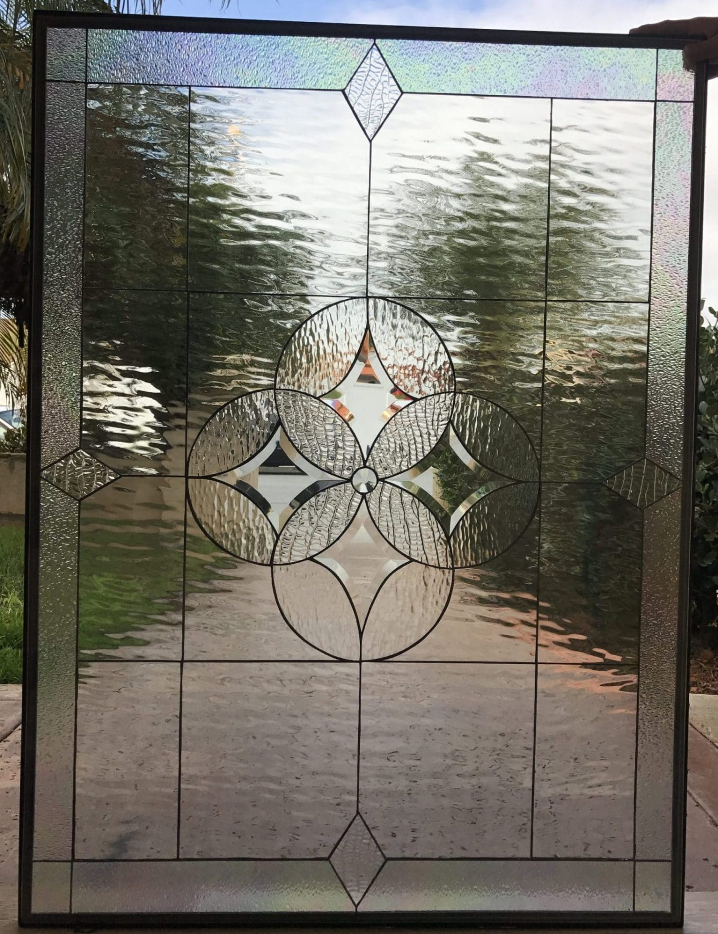 The Elegant Hermosa Leaded Stained And Beveled Glass Window Panel
