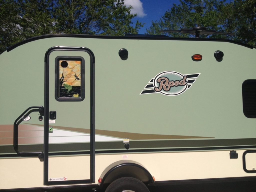Triple Pane (insulated) Stained Glass insert Installed Into An RV Camper Door