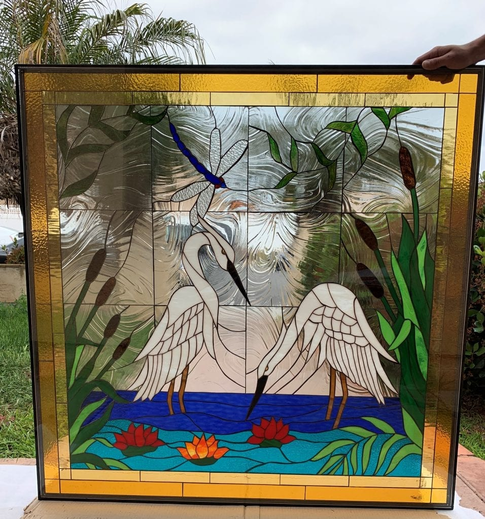 Exquisite Egret/Heron & Water Lily Stained Glass Window