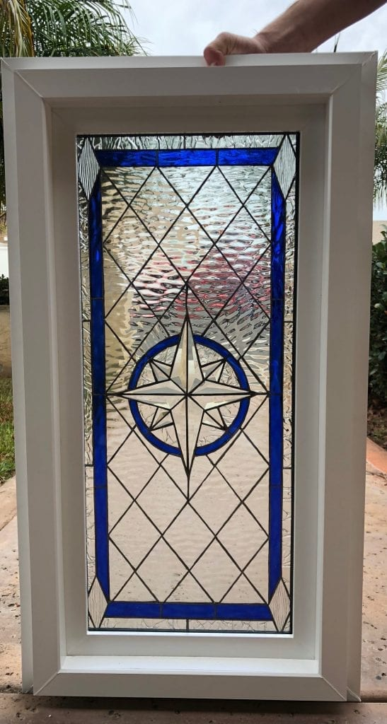 Compass Rose Beveled Stained Glass Window