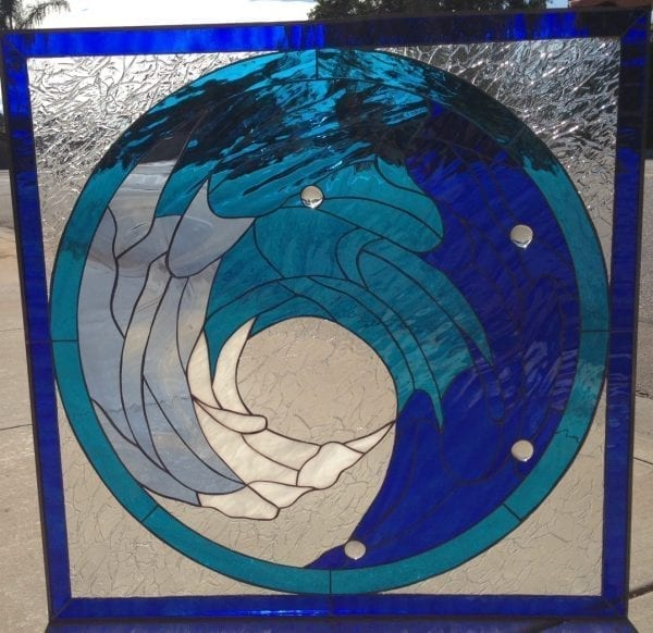 Beautiful Cresting Blue Wave Leaded Stained Glass Window Panel