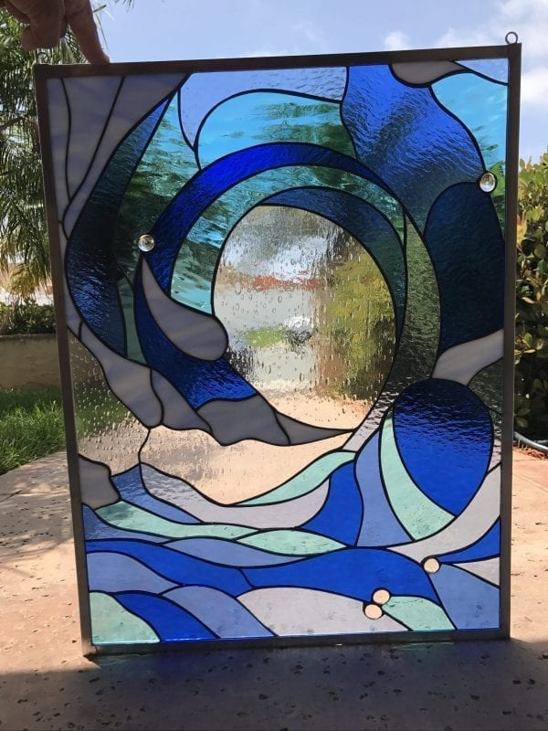 Incredible Cresting Ocean Wave Leaded Stained Glass Window Panel