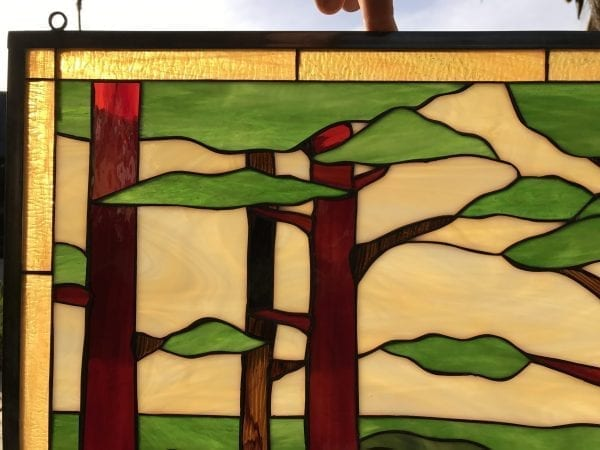 Deer/Buck In Forest Leaded Stained Glass Window Panel