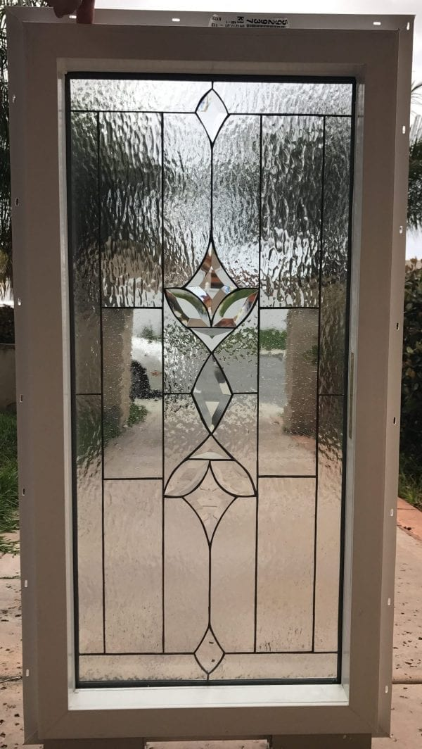"""Vinyl Framed and Insulated!! The """"Modesto"""" Leaded Stained Glass & Beveled Window"""