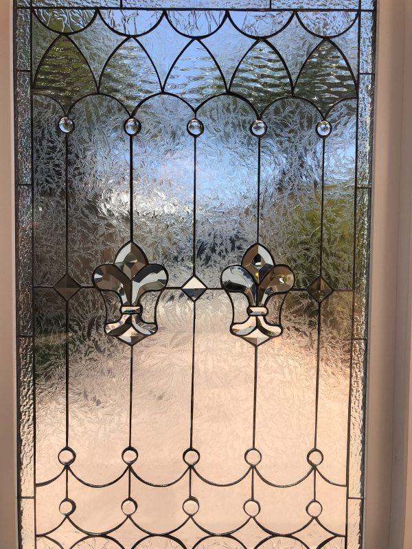 "Vinyl framed & Insulated!  The ""Wildomar"" Fleur de lis Leaded Stained Window Glass  Window"
