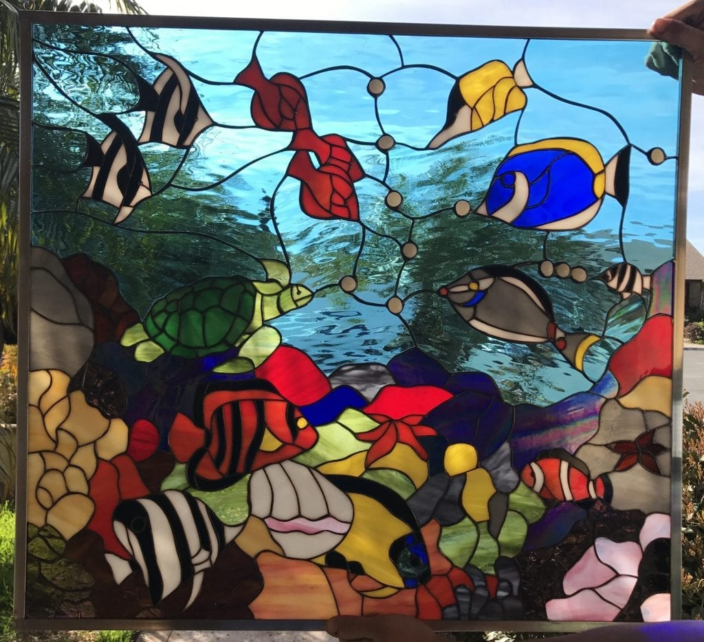 """The """"Fishtank"""" Colorful Sea Coral, Clownfish & Turtle Leaded Stained Glass Window Panel"""