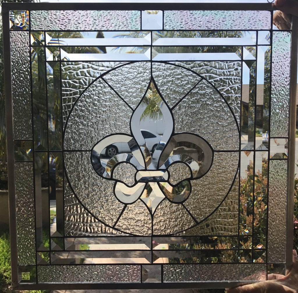 """The """"Galway"""" Classic Fleur De Lis Stained Glass Window Insert Or Cabinet Insert"""