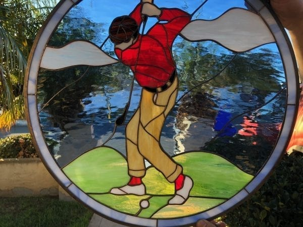 Driving It Home! Golf Leaded Stained Glass Window Panel