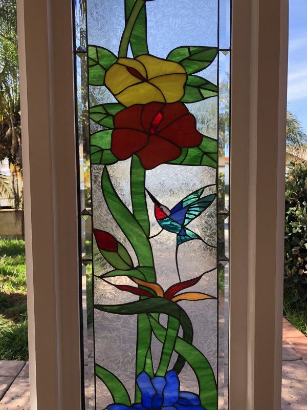"""Vinyl Framed and Tempered Glass Insulated!!   The """"Hummingbird Garden Sidelite""""  Stained Glass Window"""