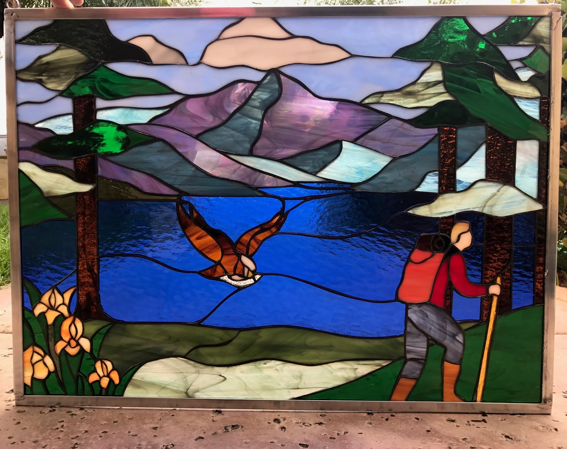 Hiker Mountains Lake Leaded Stained Gl Window Panel Or Cabinet Insert