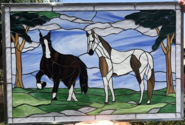 """Beautiful """"Horse Play"""" Stained Glass Window Panel"""