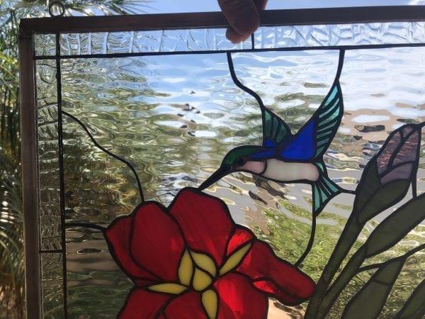 Gorgeous! Iris & Hummingbird Leaded Stained Glass Window Panel