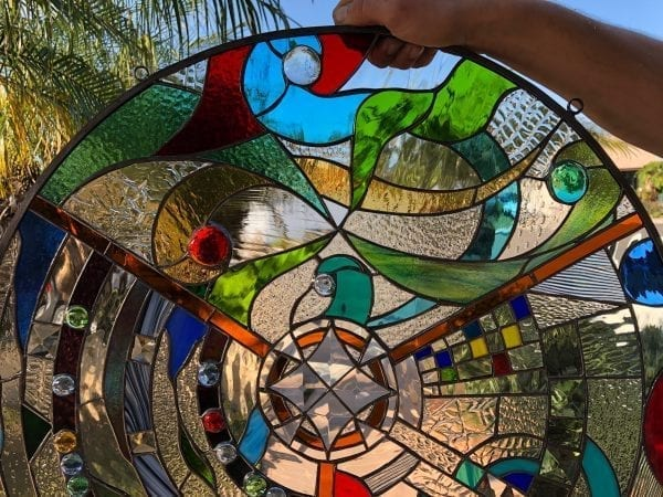 """The Incredible """"Infinity"""" Leaded Stained Glass Window Panel"""