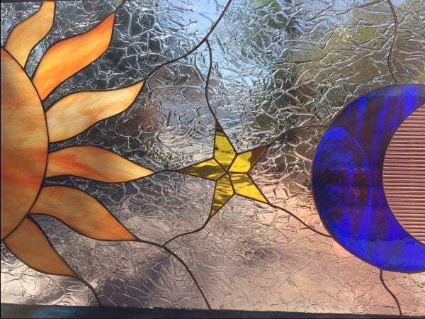 Mystical Sun, Moon & Star Leaded Stained Glass Window Panel #3