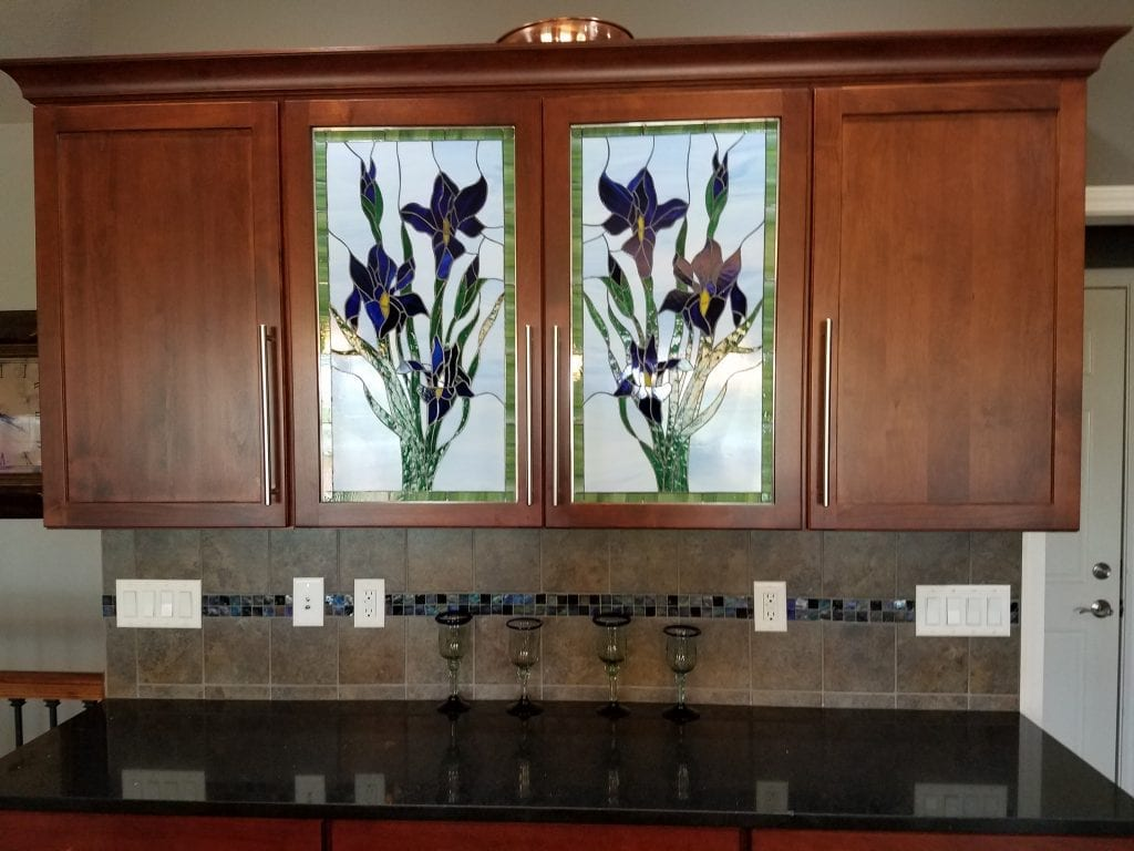 Beautiful Iris Kitchen Cabinet Backlit Stained Glass Inserts