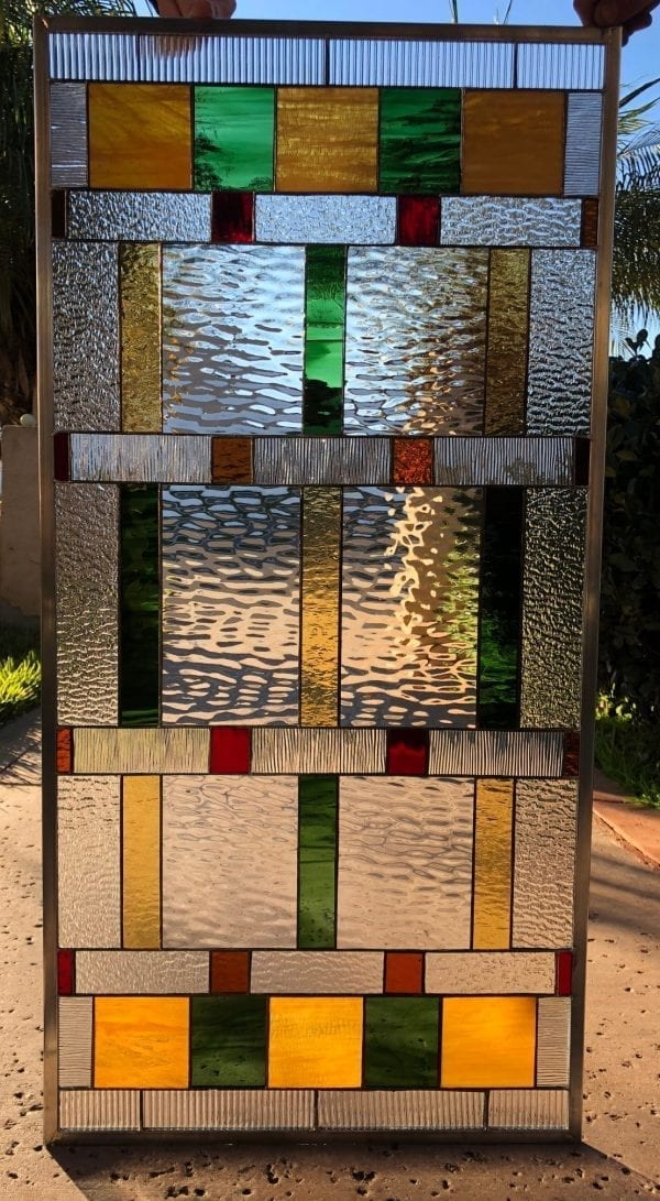 The La Jolla Mission Prairie Style Stained Glass Window Panel