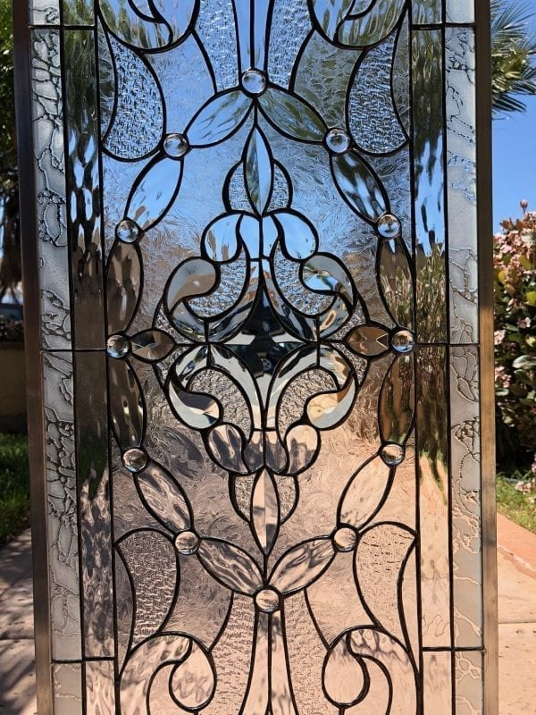 """Simply Stunning! The """"Victorville"""" Stained and Beveled Glass Window Panel"""