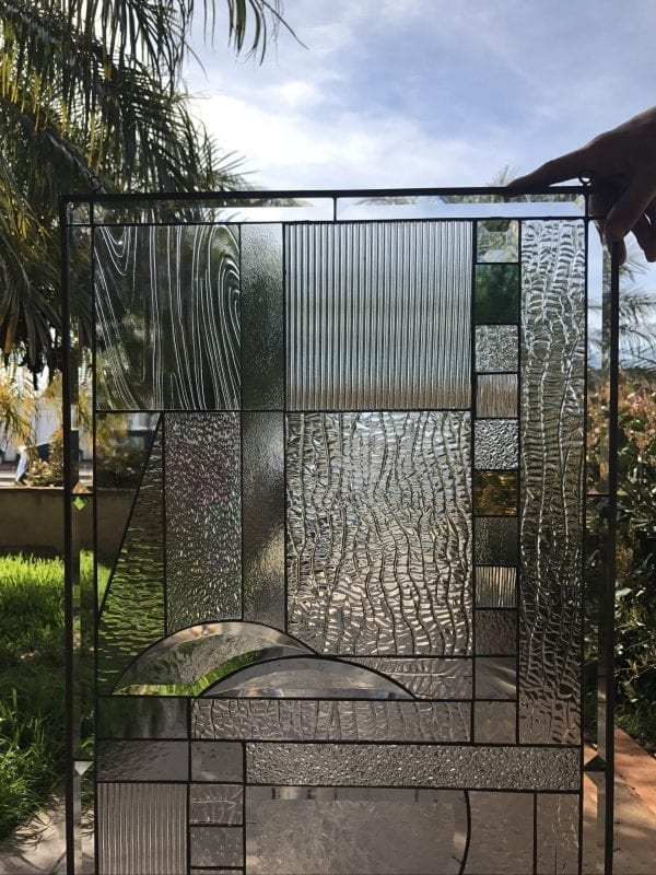 """The """"Palos Verdes"""" All Clear Beveled Glass Mission Prairie Style Leaded Panel"""