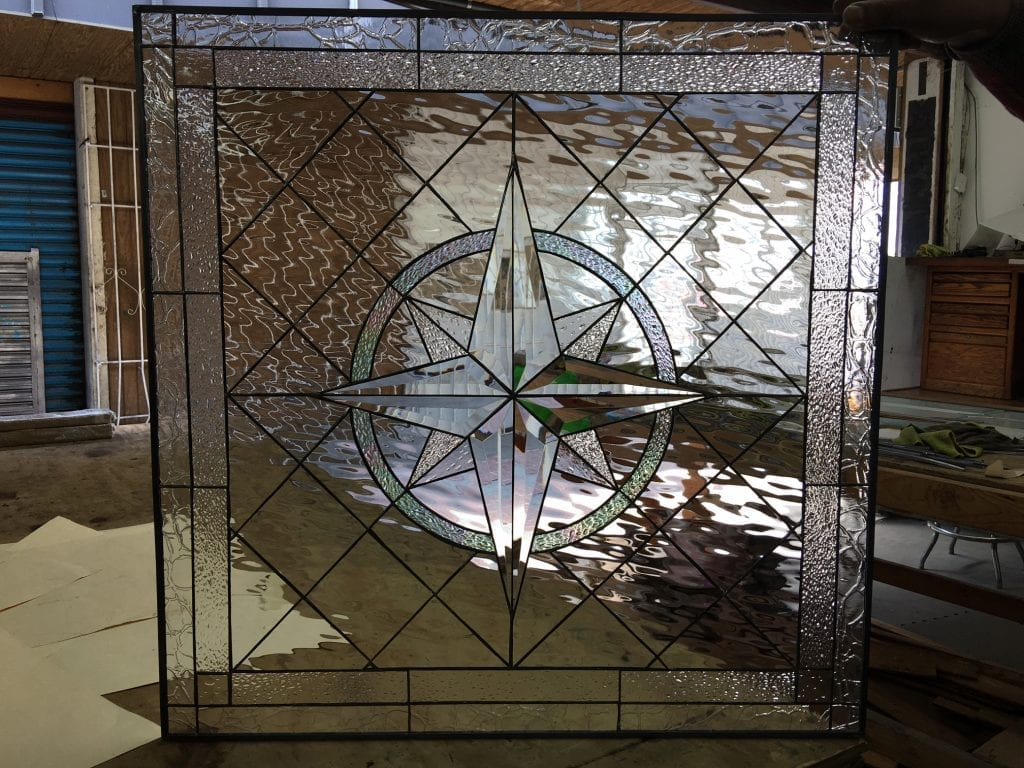 """So Beautiful! The """"Beveled Maywood"""" Compass Leaded Stained Glass Window Or Cabinet Insert"""