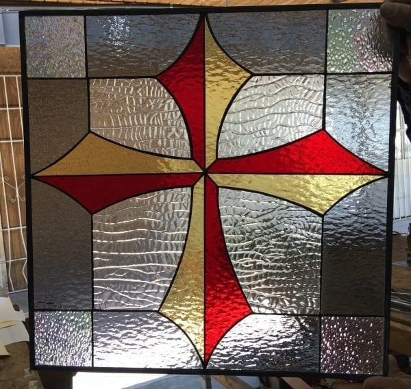 Awesome Gothic Cross Leaded Stained Glass Window Panel