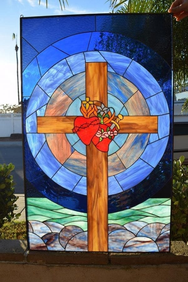 """Unique """"Cross & Hearts"""" Leaded Stained Glass Window Panel Or Cabinet Insert"""