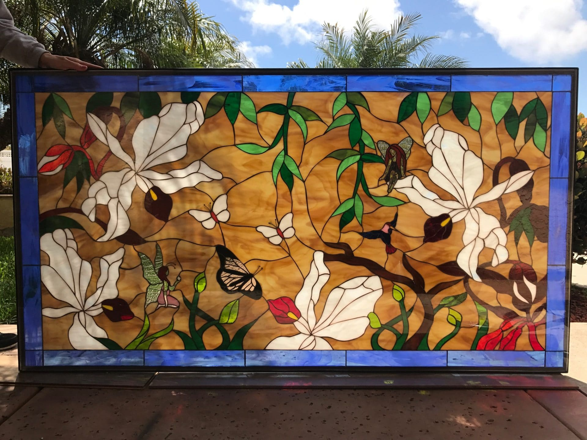 Large Stained Glass Window.Gorgeous Wild Orchids Butterfly And Fairies Large Stained Glass Window Panel