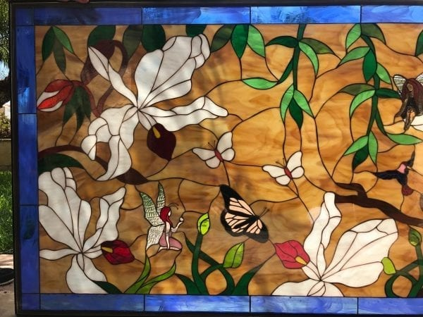 Gorgeous Wild Orchids, Butterfly and Fairies Large Stained Glass Window Panel