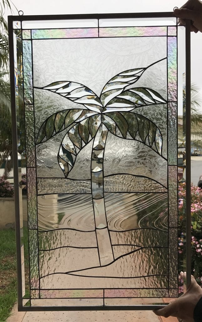 Gorgeous All Clear Palm Tree & Beveled Leaded Glass Window