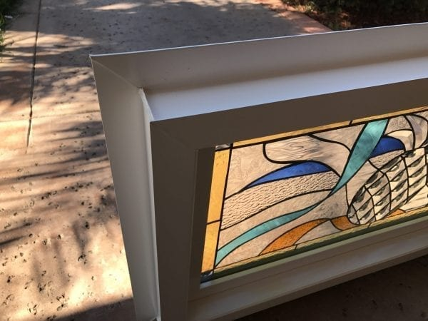 """Vinyl Framed and Tempered Glass Insulated!! The """"Pineapple & Ribbons"""" Stained Glass & Beveled Window"""