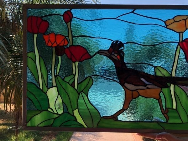Roadrunner & Poppies Leaded Stained Glass Window Panel