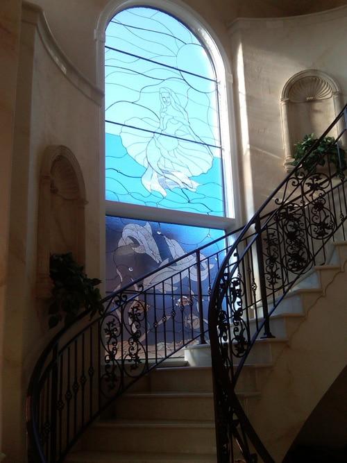 Segmented Mermaid & Dolphin Stairway Window