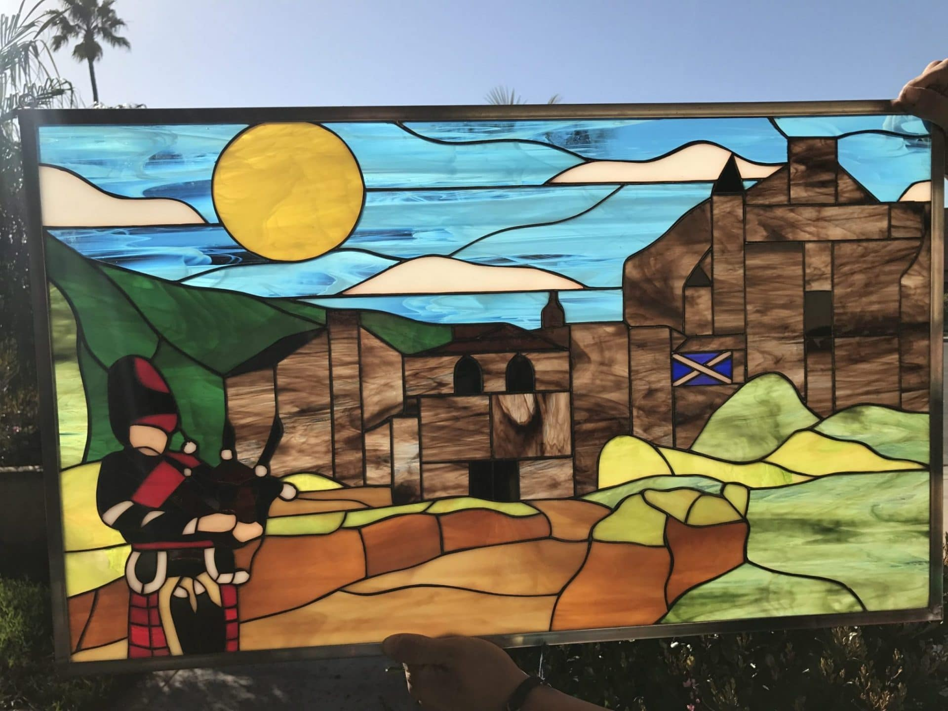 All Original Scottish Scotland Bagpiper Castle Leaded Stained Glass Window Panel