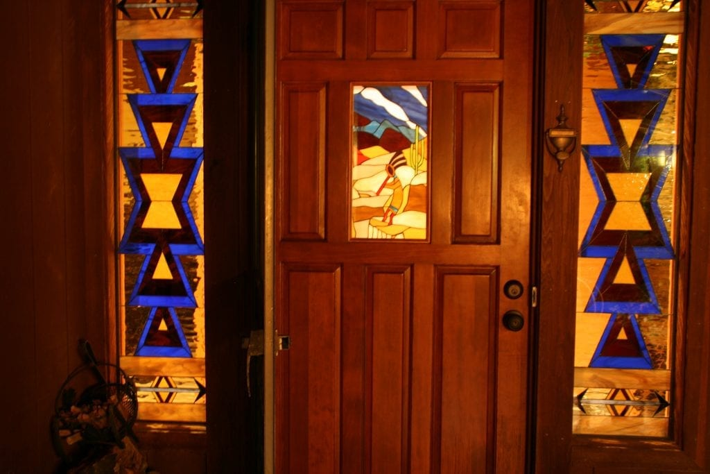 Very Warm Southwestern Stained Glass Sidelites and Door Panel Inserts