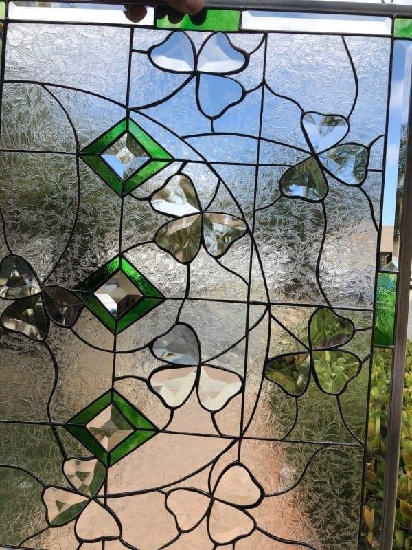 Beveled Shamrocks Leaded Stained Glass Window Panel