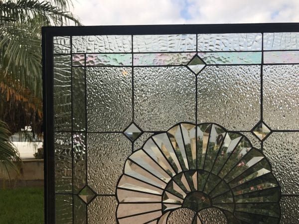 Lovely!  Beveled Glass Shell Leaded Stained Glass Window Panel