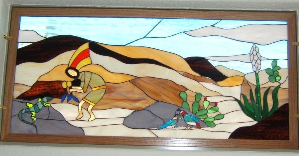 Kokopelli & Sunset Southwestern Stained Glass