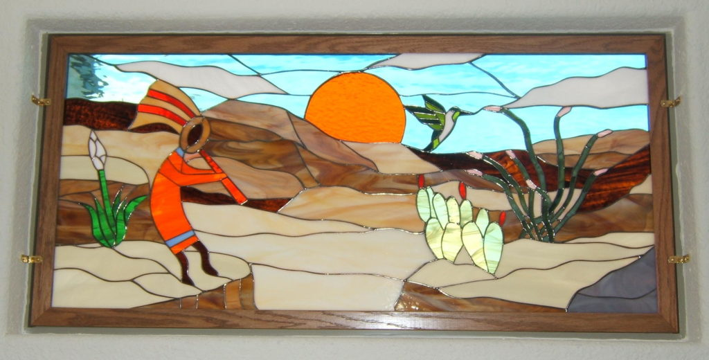 BeautifulKokopelli & Sunset Southwestern Stained Glass Held In Place With Brass Clips
