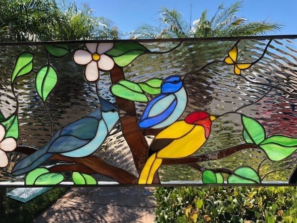 Colorful! Bird Gathering #2 Transom Stained Glass Window