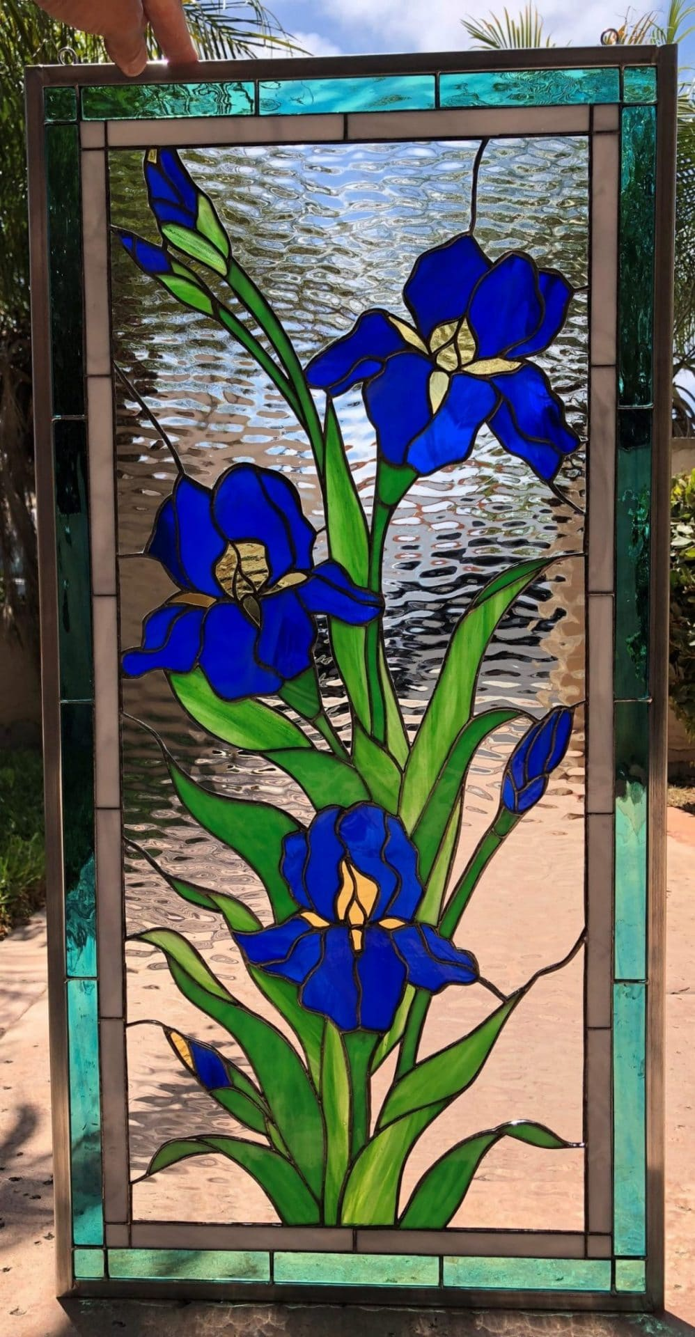 Iris Trio Leaded Stained Glass Window Panel Or Cabinet Insert
