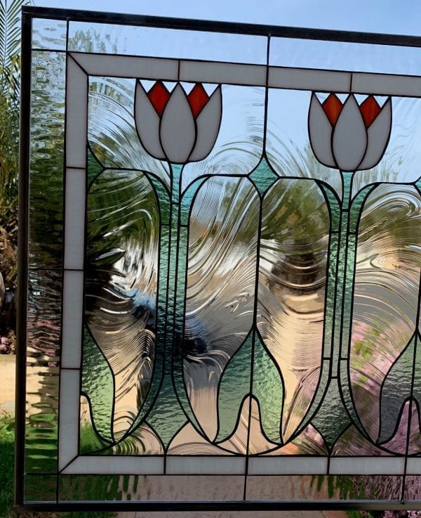 Classic English Tulips Leaded Stained Glass Window Panel
