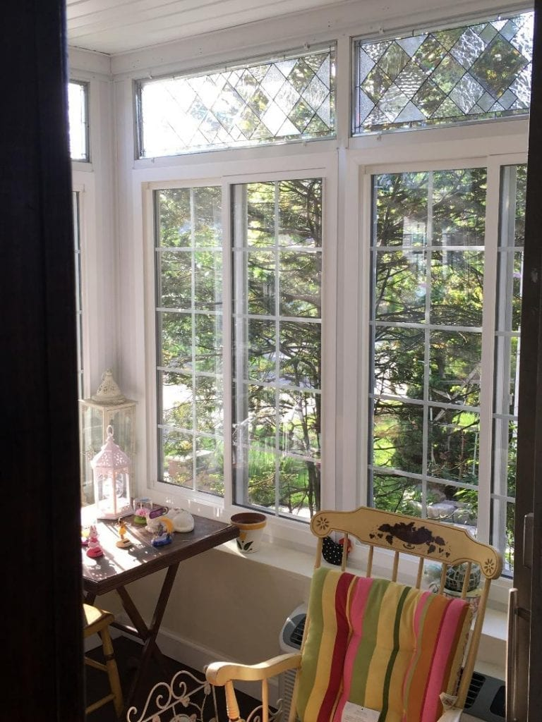 Beveled Leaded Glass Windows Installed into A Enclosed Porch In New York (Before)