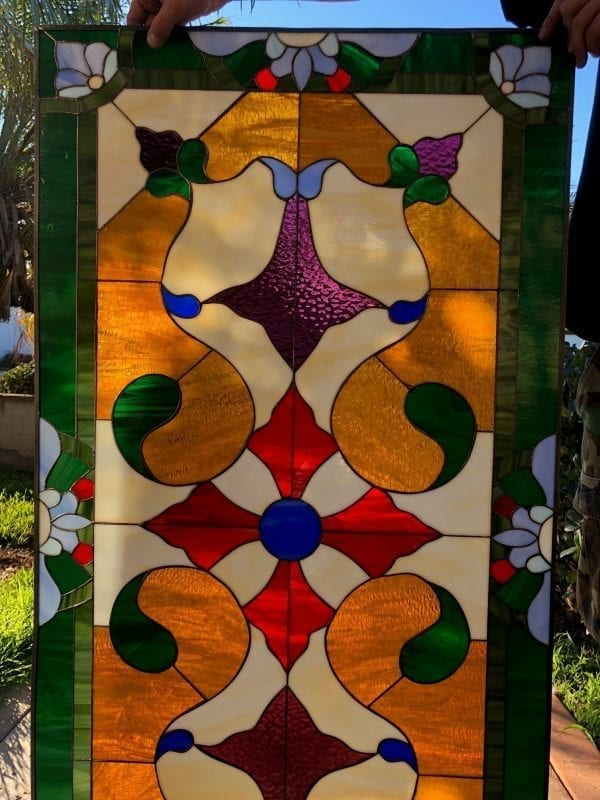 Magnificent Colorful Victorian  Leaded Stained Glass Window
