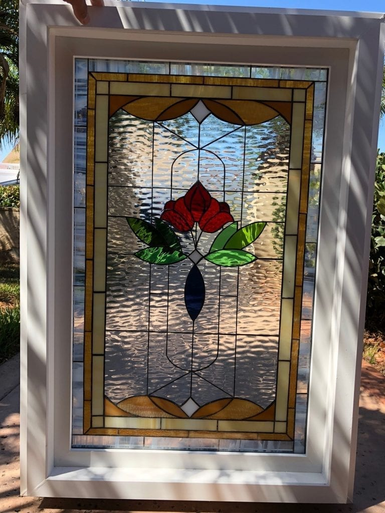 Insulated and pre-installed in vinyl frame! Victorian Rose #2 Style Stained Glass Window
